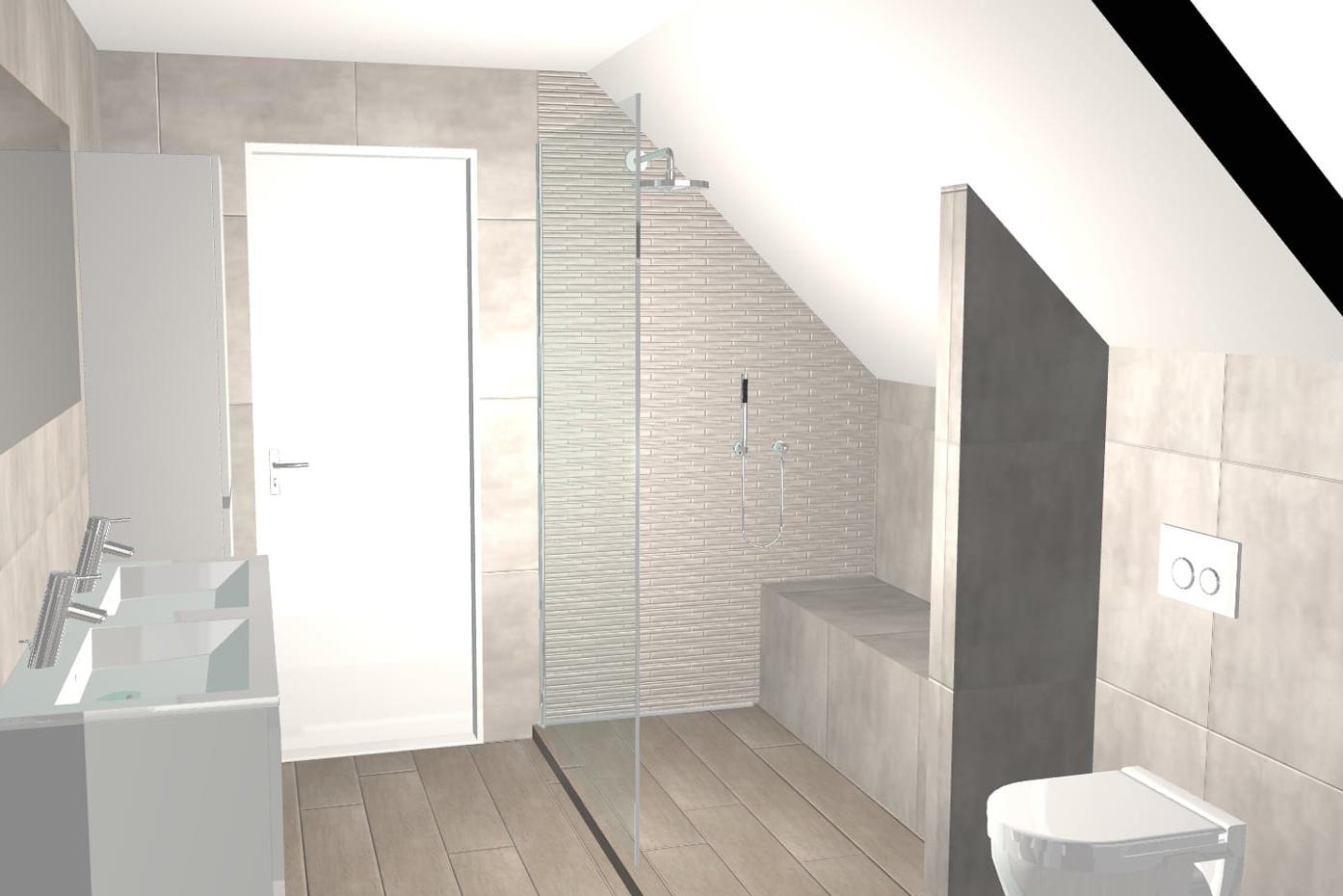 dessin plan 3D de salle de bains